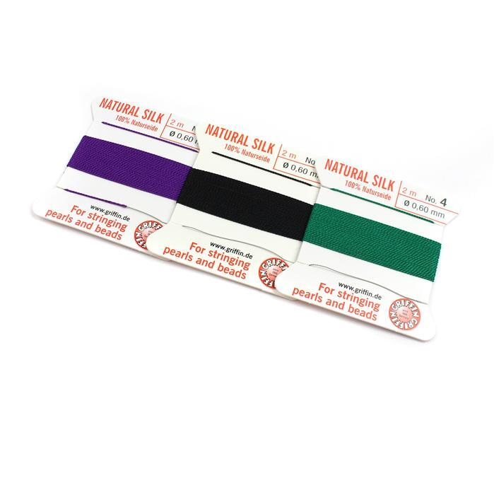 Size 04 Silk Thread; Inc Amethyst, Green & Black