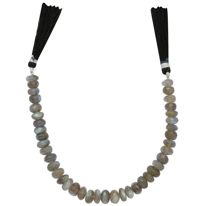 115cts Labradorite Graduated Faceted Rondelles Approx From 7x4 to 9x4mm, 17cm Strand.