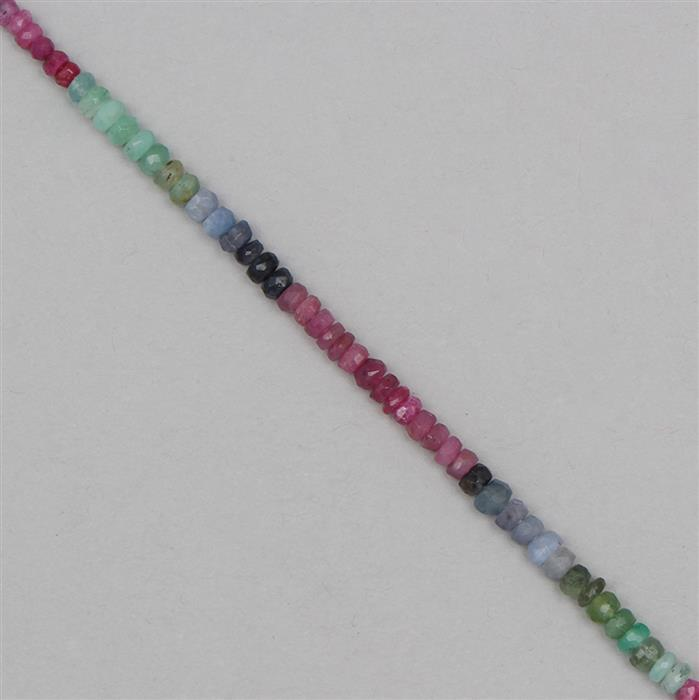 26cts Ruby, Emerald & Sapphire Graduated Faceted Rondelles Approx 2x1 to 4x2mm, 18cm Strand.