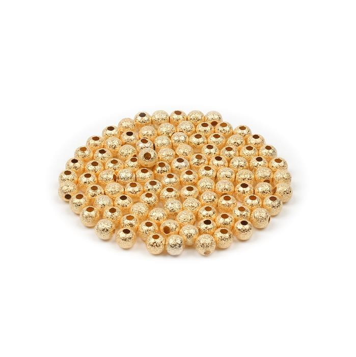 Gold Plated Brass Stardust Round Beads - 5mm (100pcs/pk)