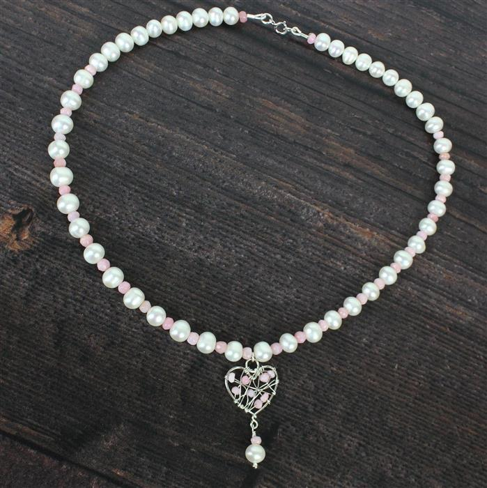 Pretty in Pink; 26cts Pink Opal, Cultured Pearls, Sterling Silver Spiga Chain 1m & Wire